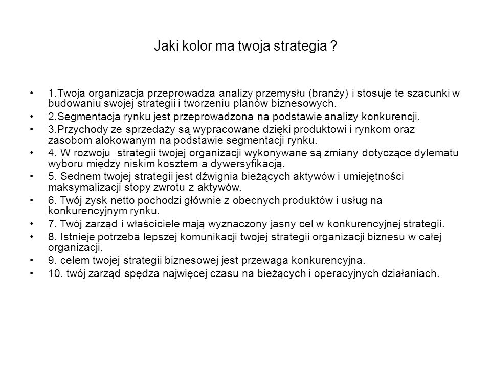 Jaki kolor ma twoja strategia
