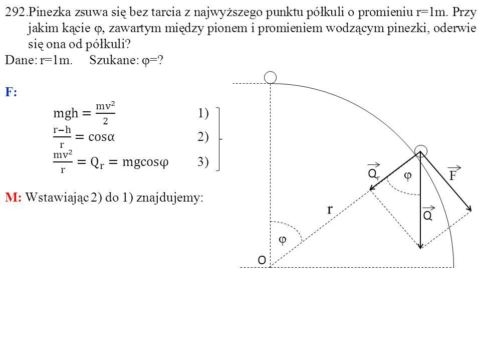 292.Pinezka zsuwa się bez tarcia z najwyższego punktu półkuli o promieniu r=1m. Przy jakim kącie j, zawartym między pionem i promieniem wodzącym pinezki, oderwie się ona od półkuli