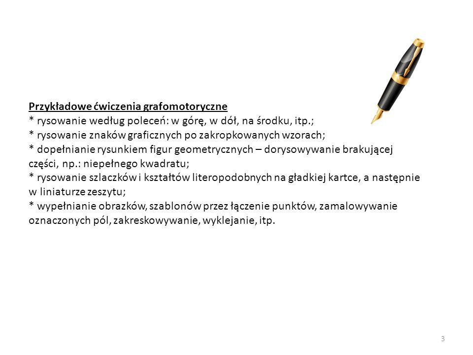 Przykładowe ćwiczenia grafomotoryczne