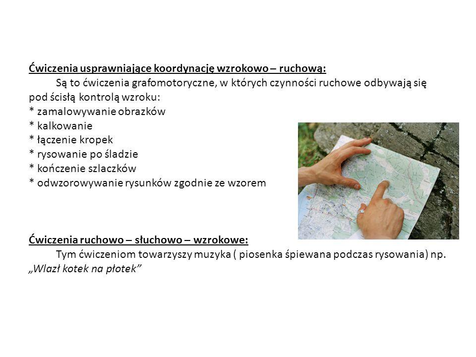 Ćwiczenia usprawniające koordynację wzrokowo – ruchową: Są to ćwiczenia grafomotoryczne, w których czynności ruchowe odbywają się pod ścisłą kontrolą wzroku: * zamalowywanie obrazków * kalkowanie * łączenie kropek * rysowanie po śladzie * kończenie szlaczków * odwzorowywanie rysunków zgodnie ze wzorem Ćwiczenia ruchowo – słuchowo – wzrokowe: Tym ćwiczeniom towarzyszy muzyka ( piosenka śpiewana podczas rysowania) np.