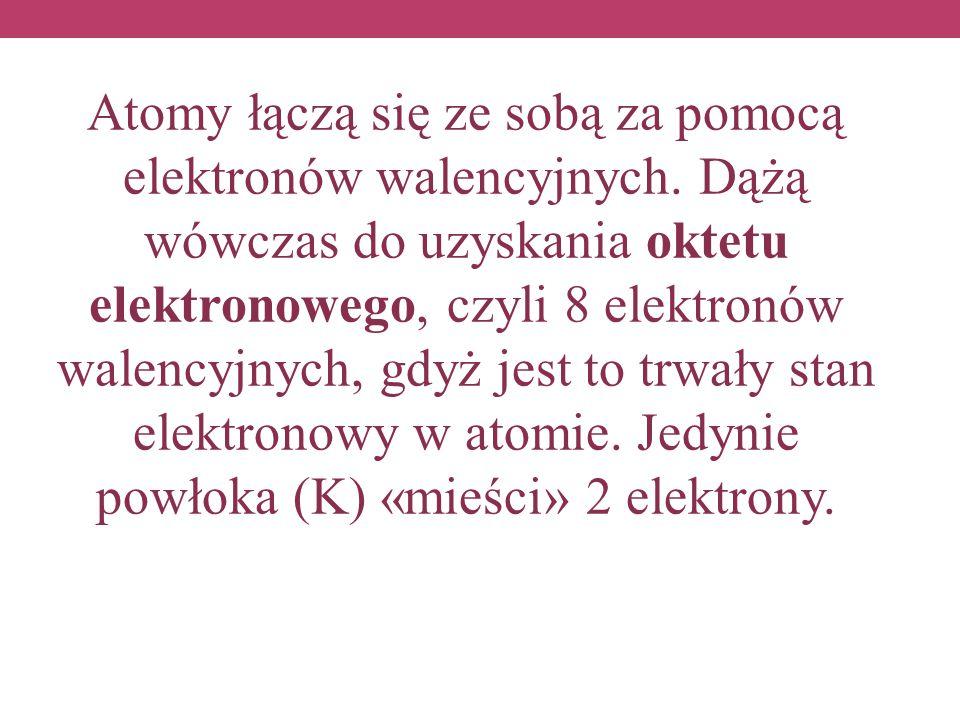 Atomy łączą się ze sobą za pomocą elektronów walencyjnych