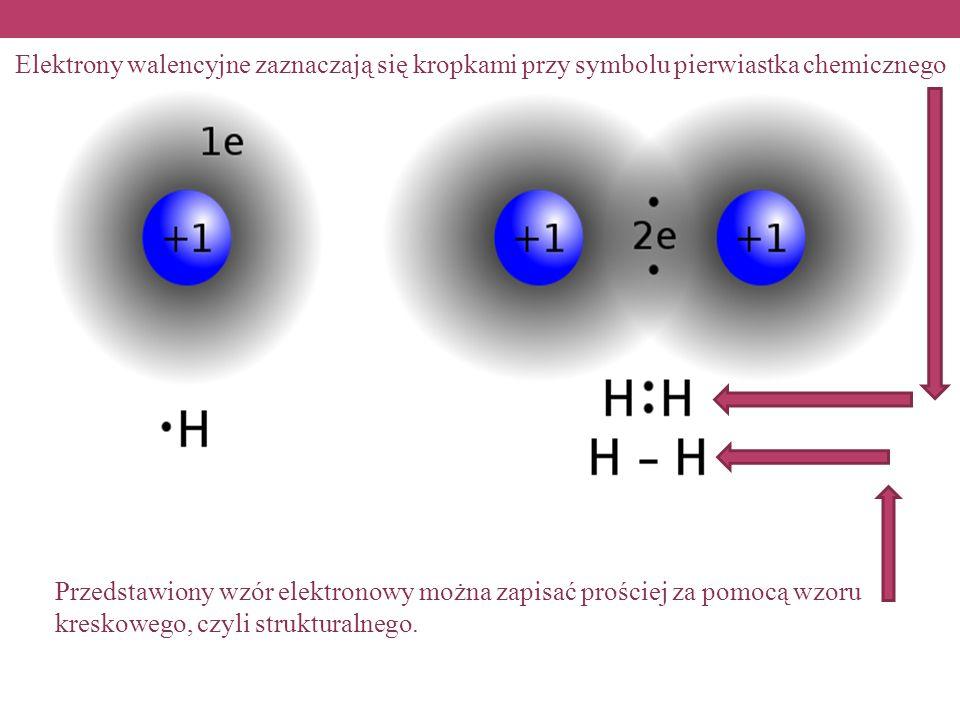 Elektrony walencyjne zaznaczają się kropkami przy symbolu pierwiastka chemicznego
