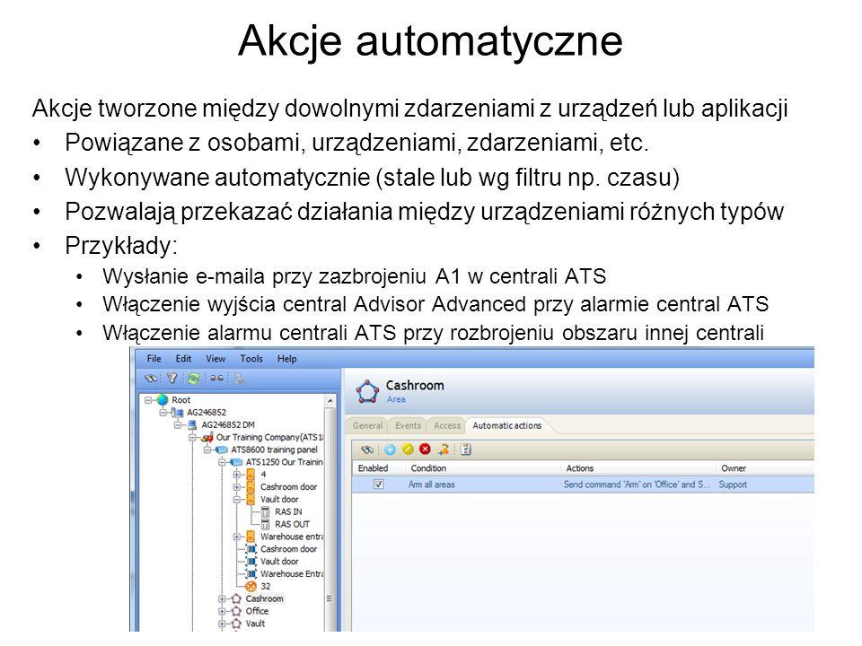 Akcje automatyczne Akcje tworzone między dowolnymi zdarzeniami z urządzeń lub aplikacji. Powiązane z osobami, urządzeniami, zdarzeniami, etc.