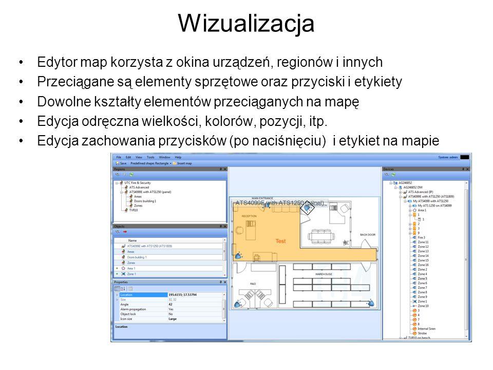 Wizualizacja Edytor map korzysta z okina urządzeń, regionów i innych