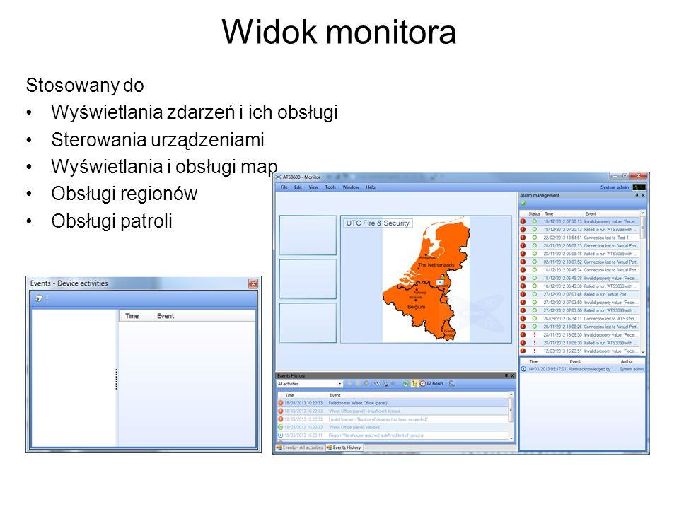 Widok monitora Stosowany do Wyświetlania zdarzeń i ich obsługi