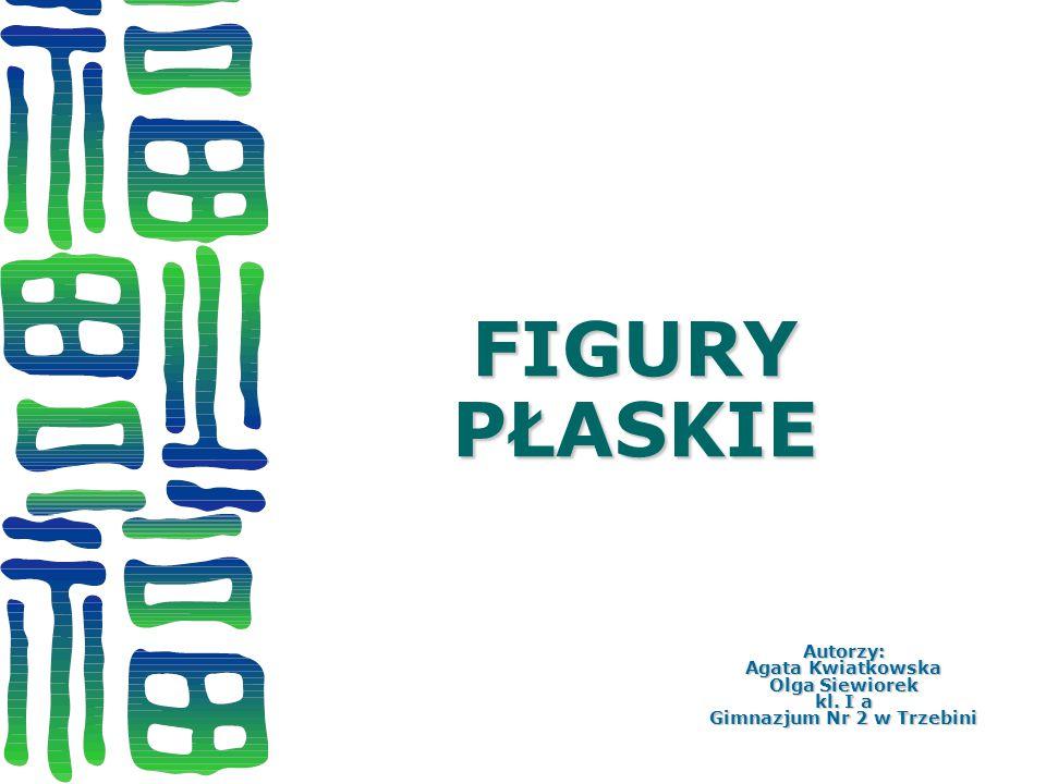 FIGURY PŁASKIE Autorzy: Agata Kwiatkowska Olga Siewiorek kl. I a Gimnazjum Nr 2 w Trzebini