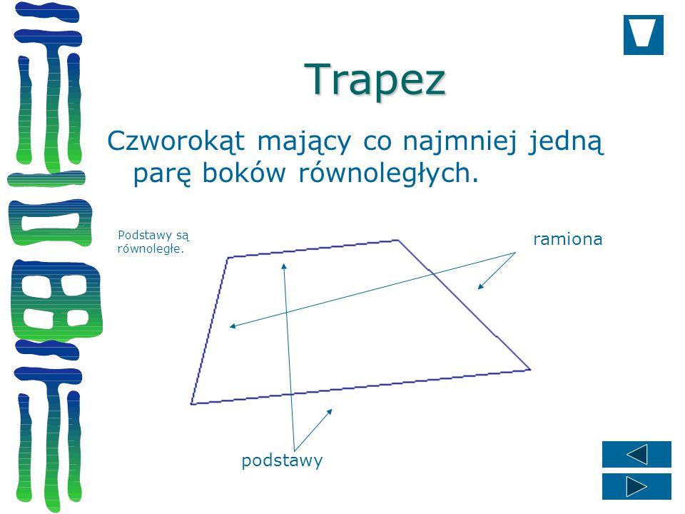 Trapez Czworokąt mający co najmniej jedną parę boków równoległych.