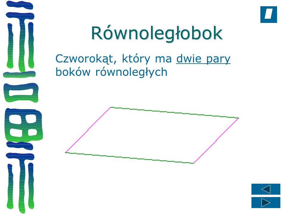 Równoległobok Czworokąt, który ma dwie pary boków równoległych