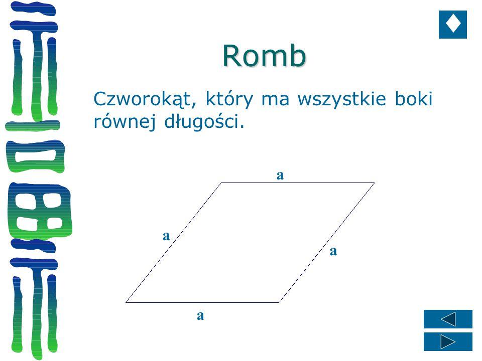 Romb Czworokąt, który ma wszystkie boki równej długości. a a a a