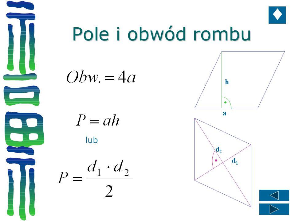 Pole i obwód rombu h a lub d2 d1