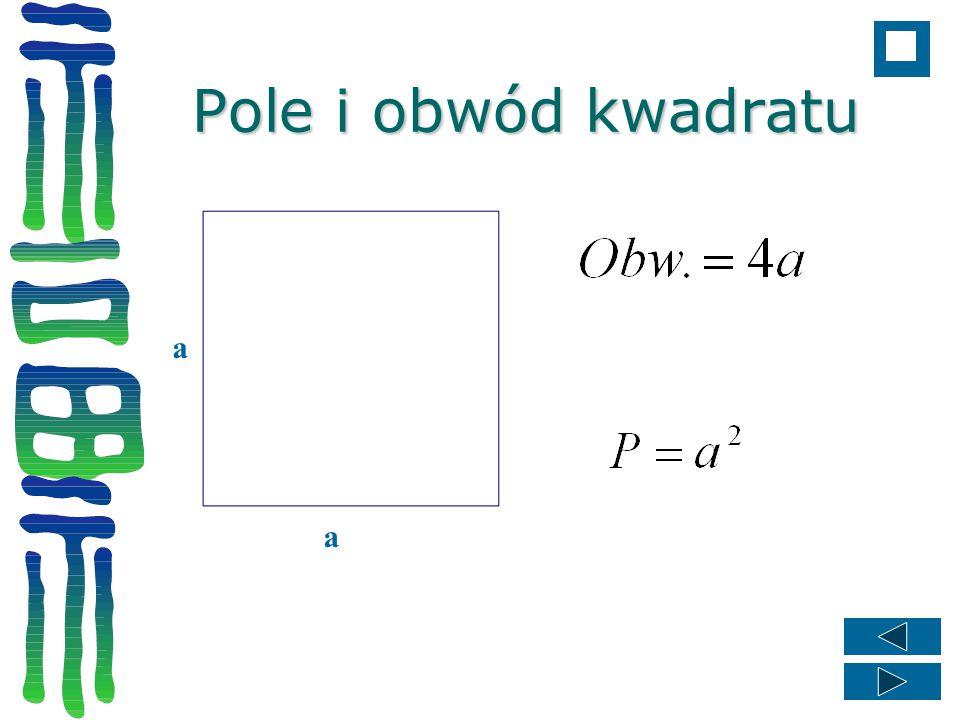 Pole i obwód kwadratu a a
