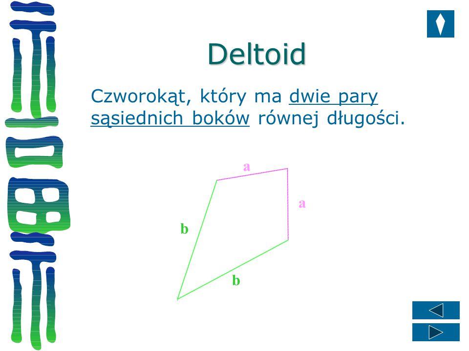 Deltoid Czworokąt, który ma dwie pary sąsiednich boków równej długości. a a b b