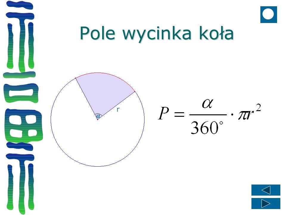 Pole wycinka koła r α