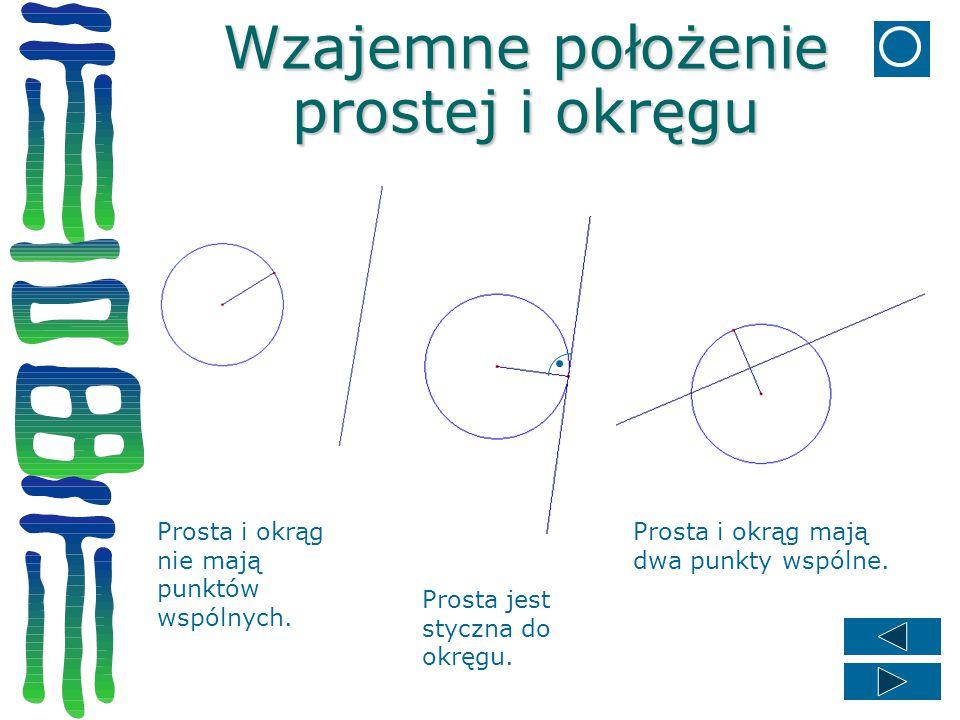 Wzajemne położenie prostej i okręgu