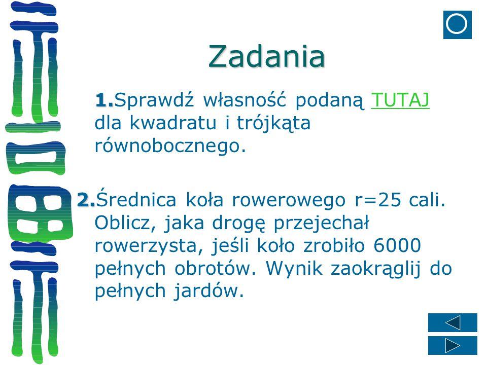 Zadania 1.Sprawdź własność podaną TUTAJ dla kwadratu i trójkąta równobocznego.