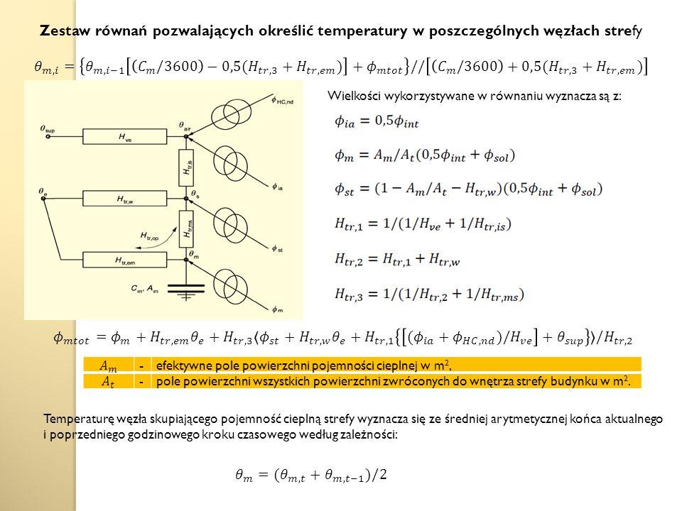 Zestaw równań pozwalających określić temperatury w poszczególnych węzłach strefy