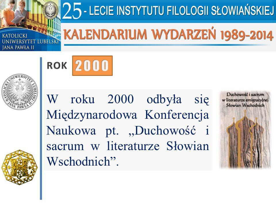 ROK 2000. W roku 2000 odbyła się Międzynarodowa Konferencja Naukowa pt.