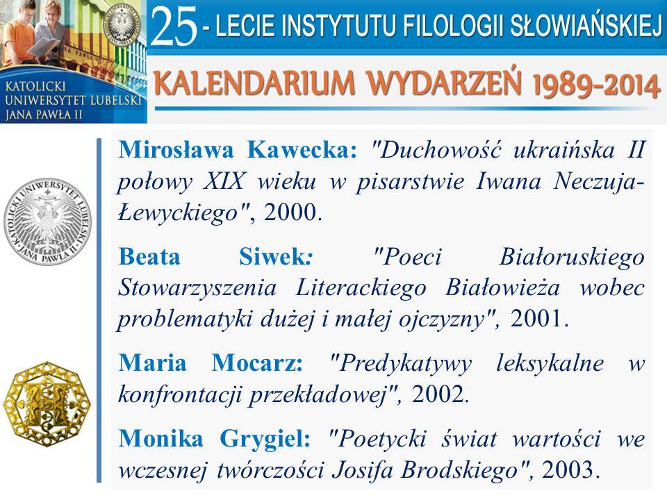 Mirosława Kawecka: Duchowość ukraińska II połowy XIX wieku w pisarstwie Iwana Neczuja-Łewyckiego , 2000.