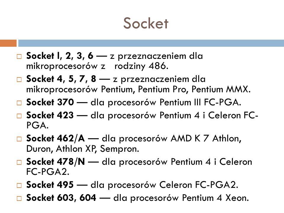 Socket Socket l, 2, 3, 6 — z przeznaczeniem dla mikroprocesorów z rodziny 486.