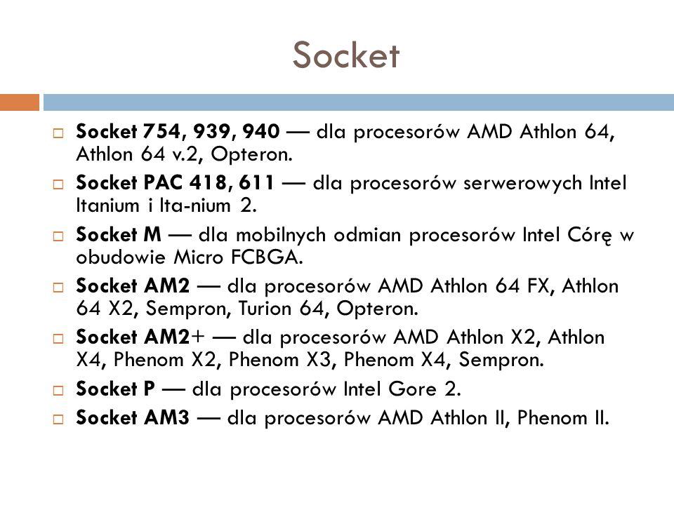 Socket Socket 754, 939, 940 — dla procesorów AMD Athlon 64, Athlon 64 v.2, Opteron.