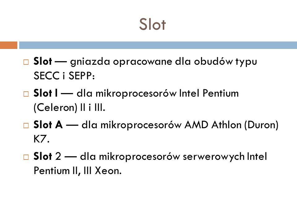 Slot Slot — gniazda opracowane dla obudów typu SECC i SEPP:
