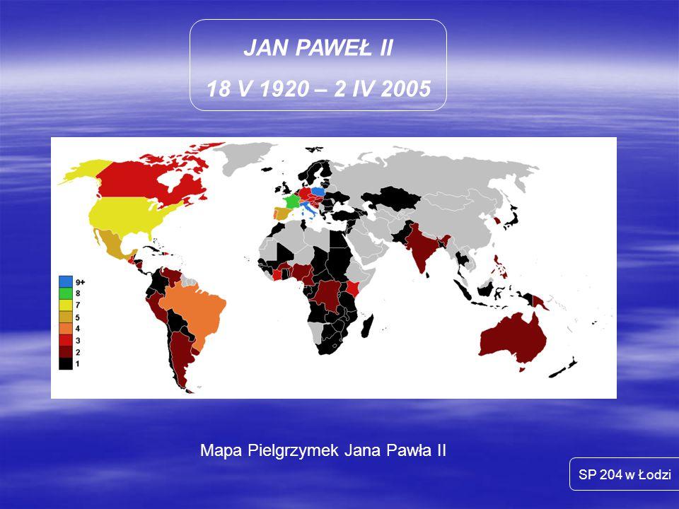 Mapa Pielgrzymek Jana Pawła II