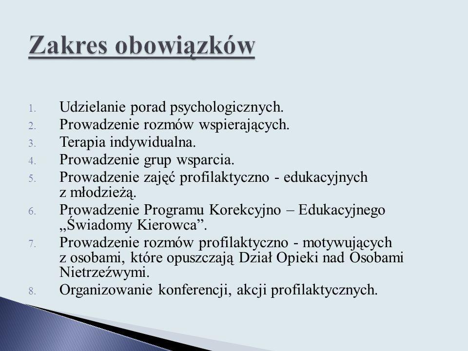 Zakres obowiązków Udzielanie porad psychologicznych.