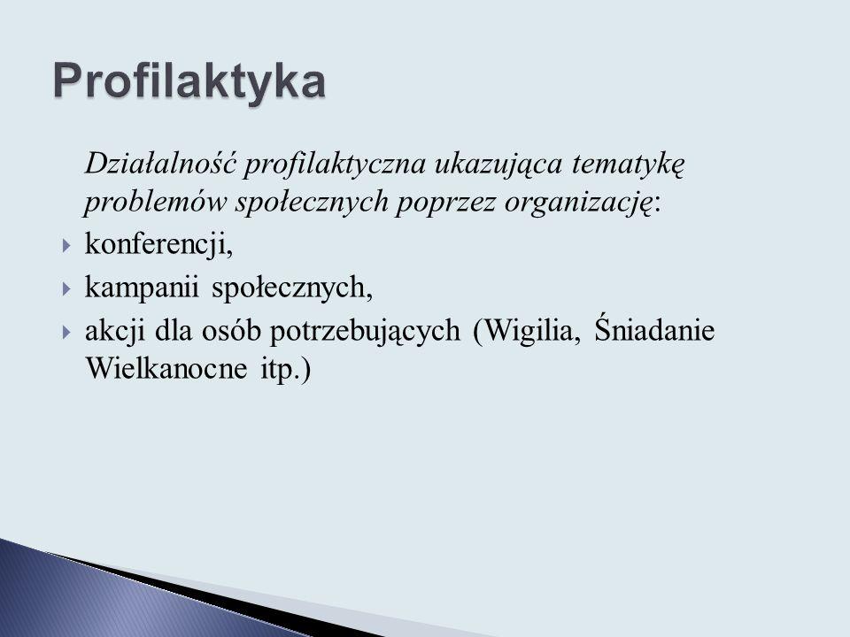 Profilaktyka Działalność profilaktyczna ukazująca tematykę problemów społecznych poprzez organizację: