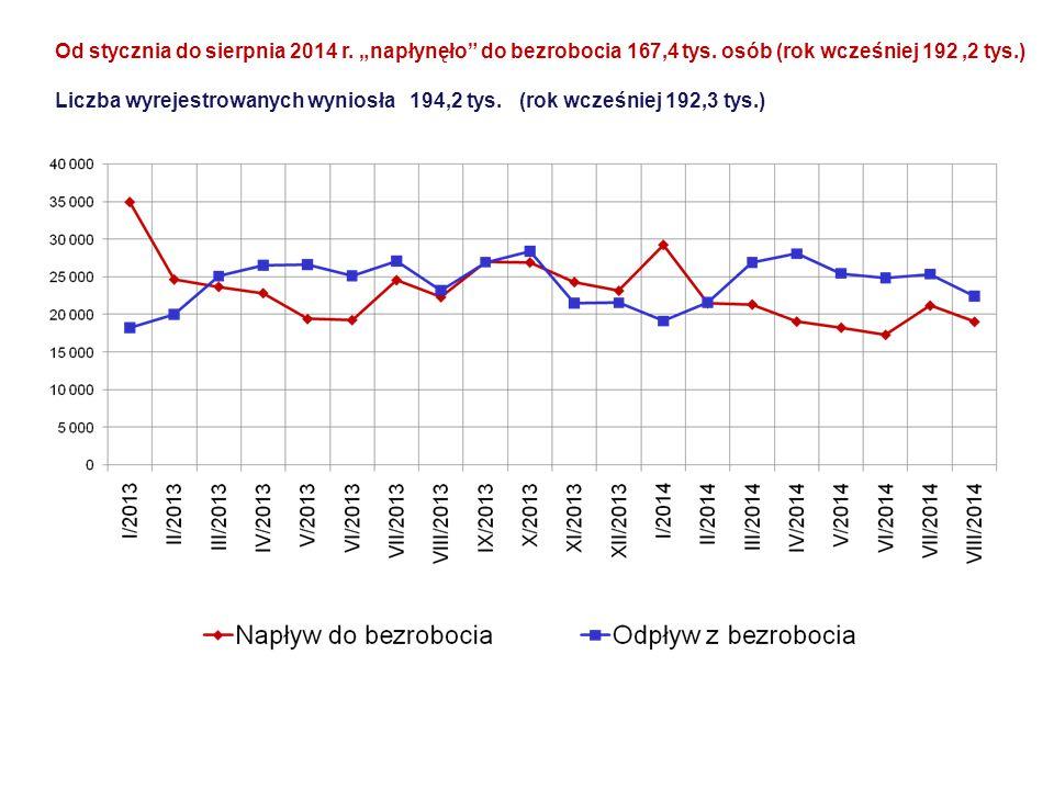 """Od stycznia do sierpnia 2014 r. """"napłynęło do bezrobocia 167,4 tys"""