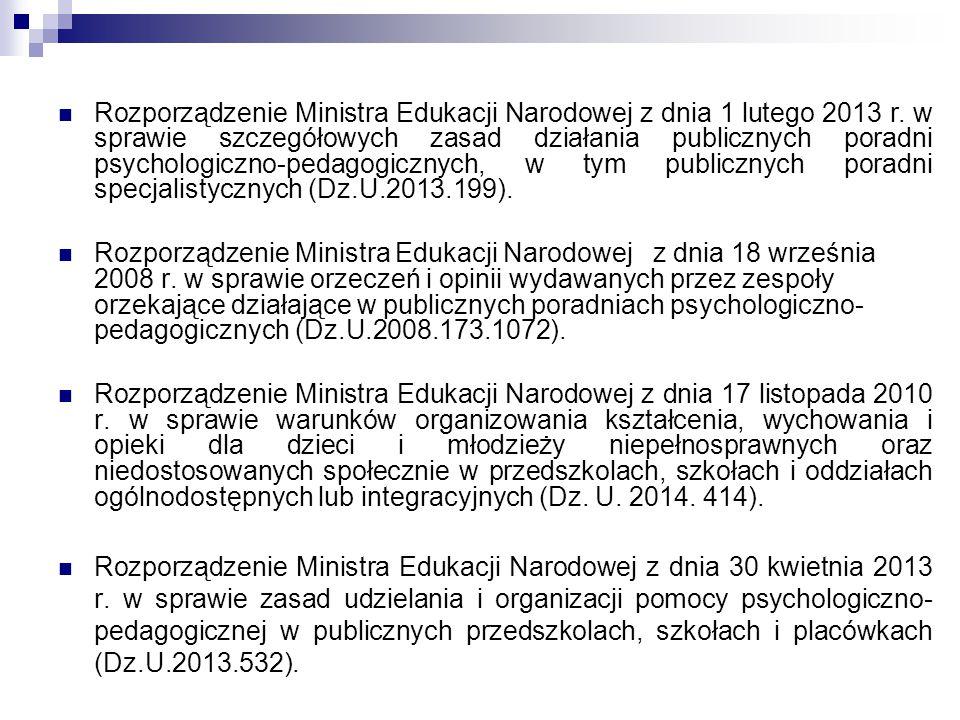 Rozporządzenie Ministra Edukacji Narodowej z dnia 1 lutego 2013 r