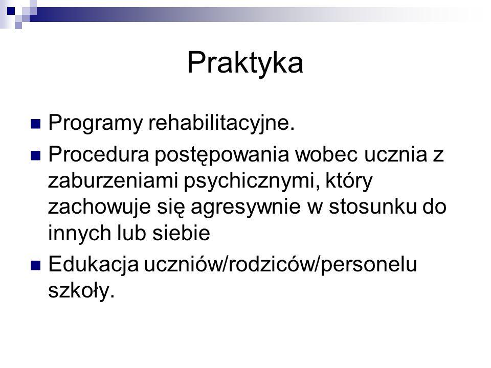 Praktyka Programy rehabilitacyjne.