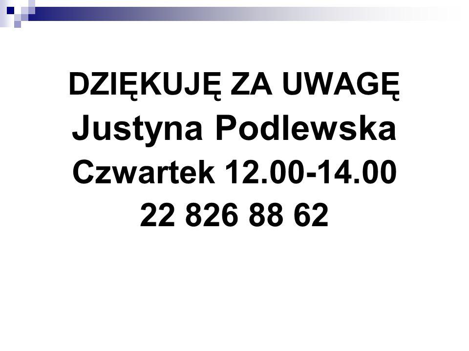 Justyna Podlewska Czwartek 12.00-14.00 22 826 88 62 DZIĘKUJĘ ZA UWAGĘ