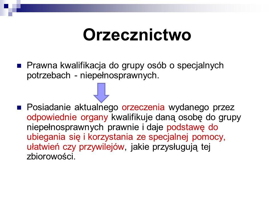 Orzecznictwo Prawna kwalifikacja do grupy osób o specjalnych potrzebach - niepełnosprawnych. ↓