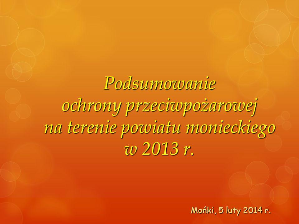 Podsumowanie ochrony przeciwpożarowej na terenie powiatu monieckiego w 2013 r.