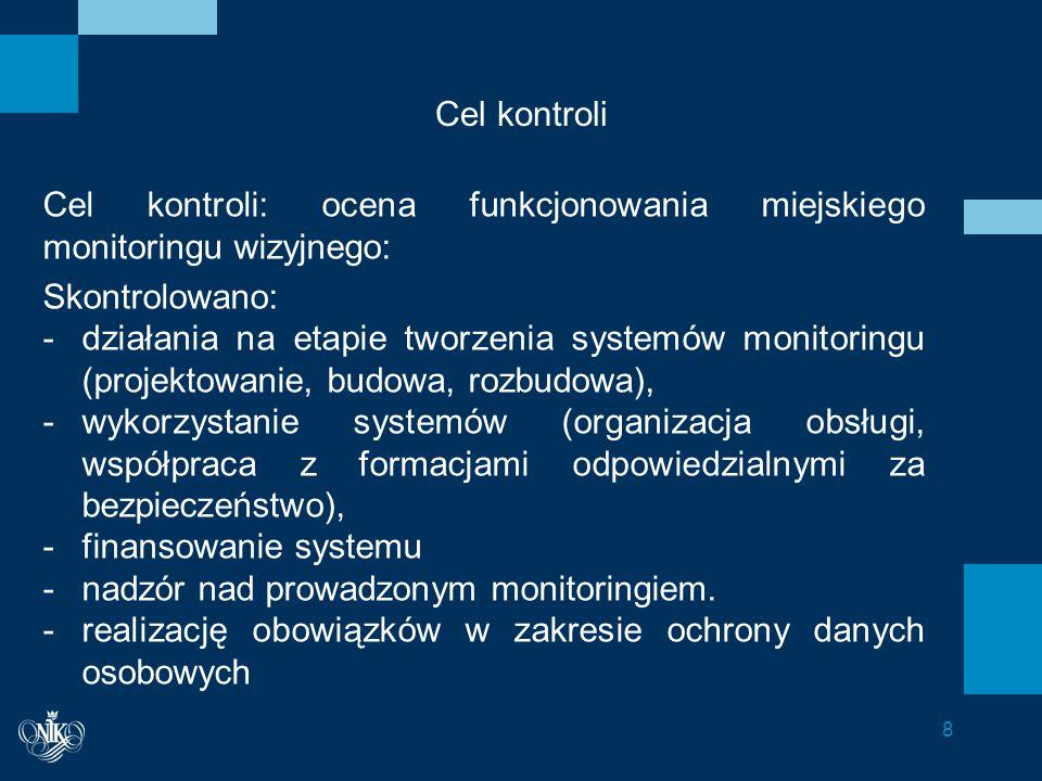 Cel kontroli Cel kontroli: ocena funkcjonowania miejskiego monitoringu wizyjnego: Skontrolowano: