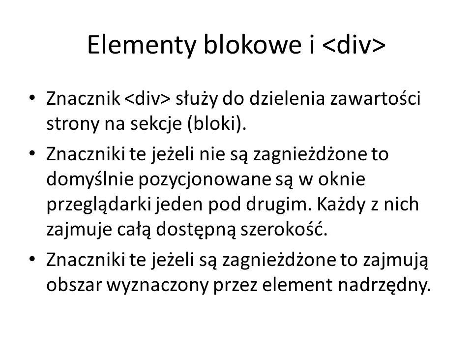Elementy blokowe i <div>