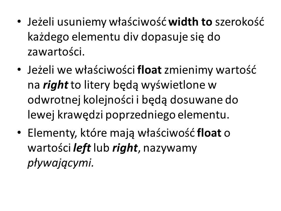 Jeżeli usuniemy właściwość width to szerokość każdego elementu div dopasuje się do zawartości.