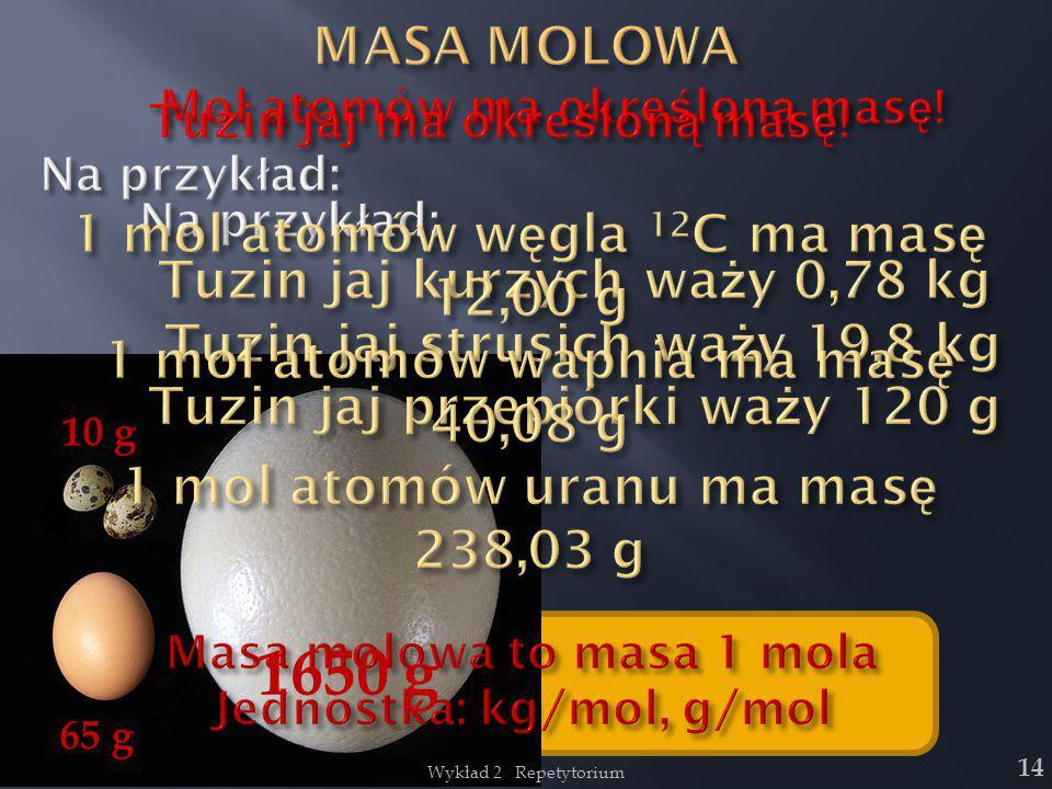 1650 g MASA MOLOWA 1 mol atomów węgla 12C ma masę 12,00 g