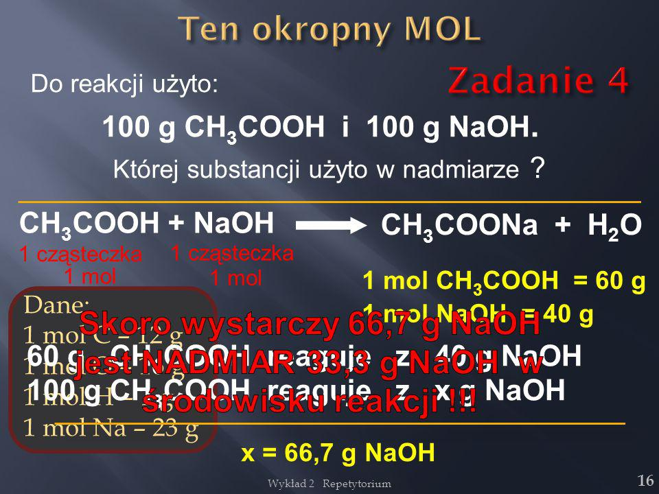 jest NADMIAR 33,3 g NaOH w środowisku reakcji !!!