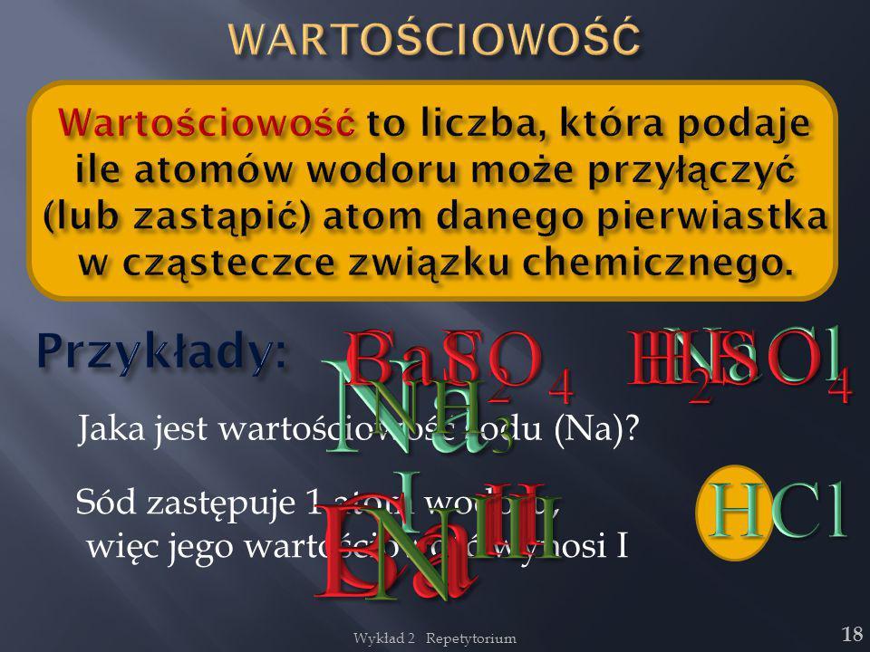 NaI CaII BaII NIII BaSO4 CaF2 HF H2SO4 NaCl NH3 HCl Przykłady: