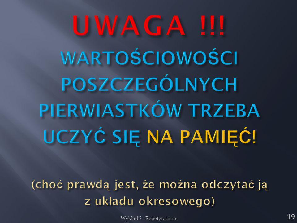 UWAGA !!! WARTOŚCIOWOŚCI POSZCZEGÓLNYCH PIERWIASTKÓW TRZEBA UCZYĆ SIĘ NA PAMIĘĆ! (choć prawdą jest, że można odczytać ją z układu okresowego)