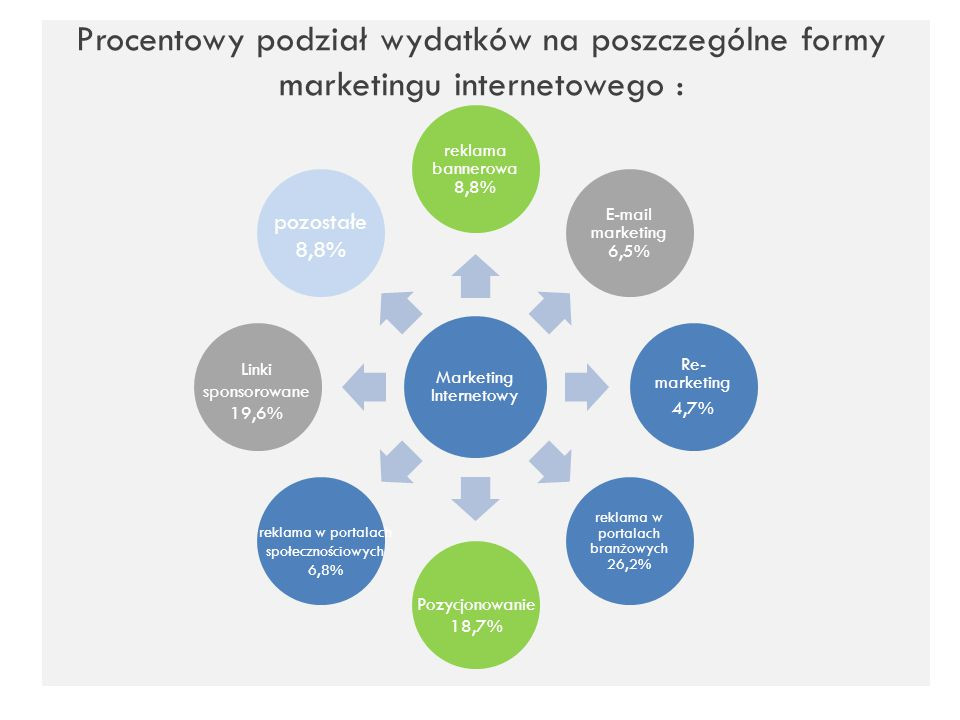 Procentowy podział wydatków na poszczególne formy marketingu internetowego :