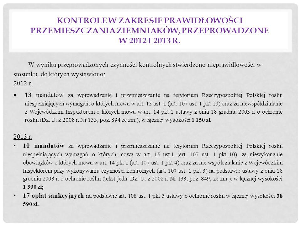 Kontrole w zakresie prawidłowości przemieszczania ziemniaków, przeprowadzone w 2012 i 2013 r.