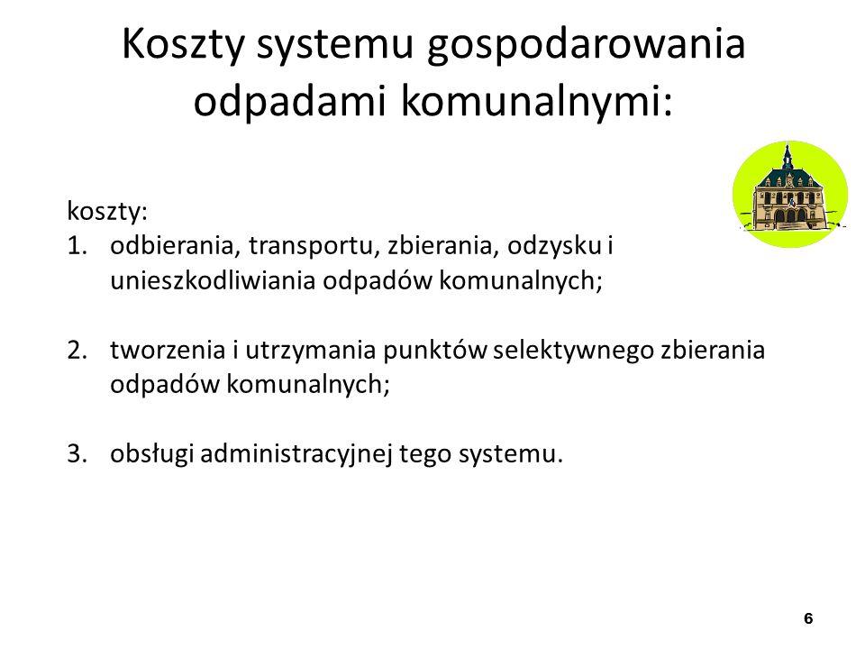 Koszty systemu gospodarowania odpadami komunalnymi:
