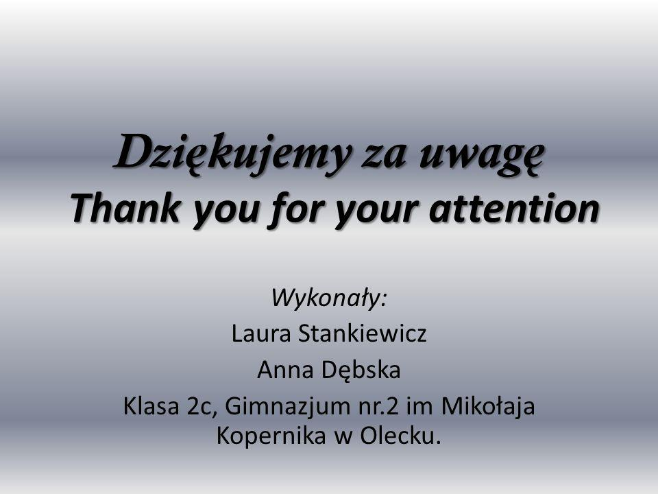 Dziękujemy za uwagę Thank you for your attention