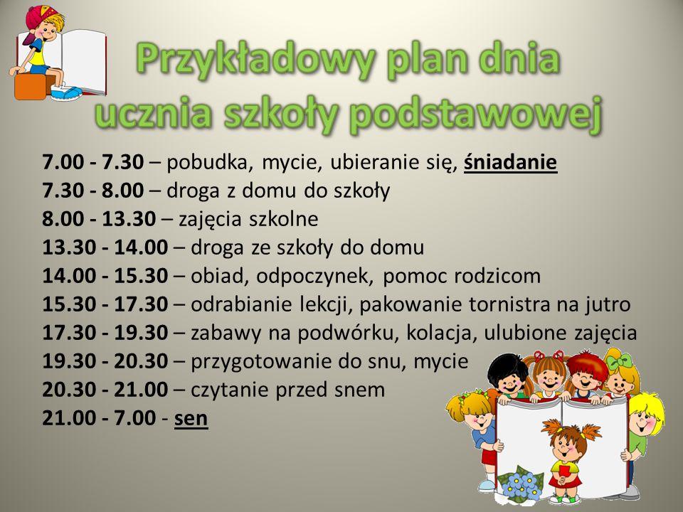 Przykładowy plan dnia ucznia szkoły podstawowej