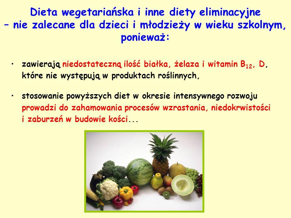 Dieta wegetariańska i inne diety eliminacyjne – nie zalecane dla dzieci i młodzieży w wieku szkolnym, ponieważ: