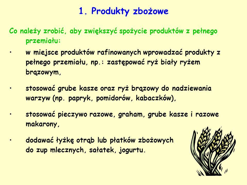 1. Produkty zbożowe Co należy zrobić, aby zwiększyć spożycie produktów z pełnego przemiału: