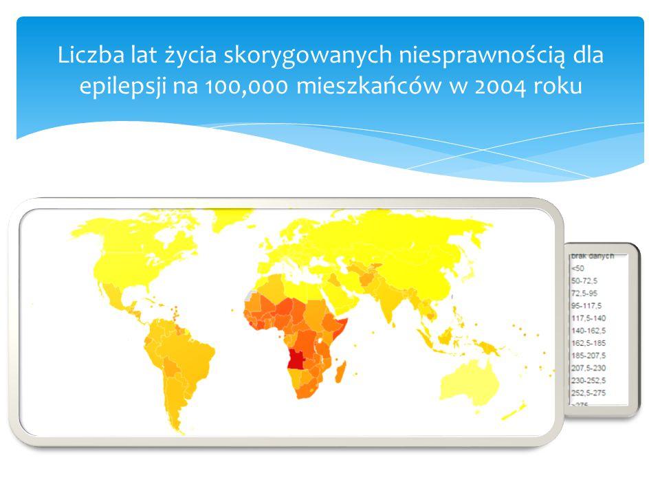 Liczba lat życia skorygowanych niesprawnością dla epilepsji na 100,000 mieszkańców w 2004 roku