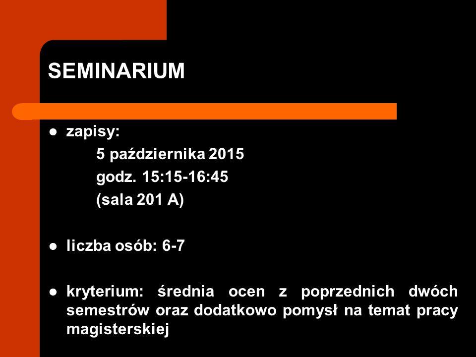 SEMINARIUM zapisy: 5 października 2015 godz. 15:15-16:45 (sala 201 A)